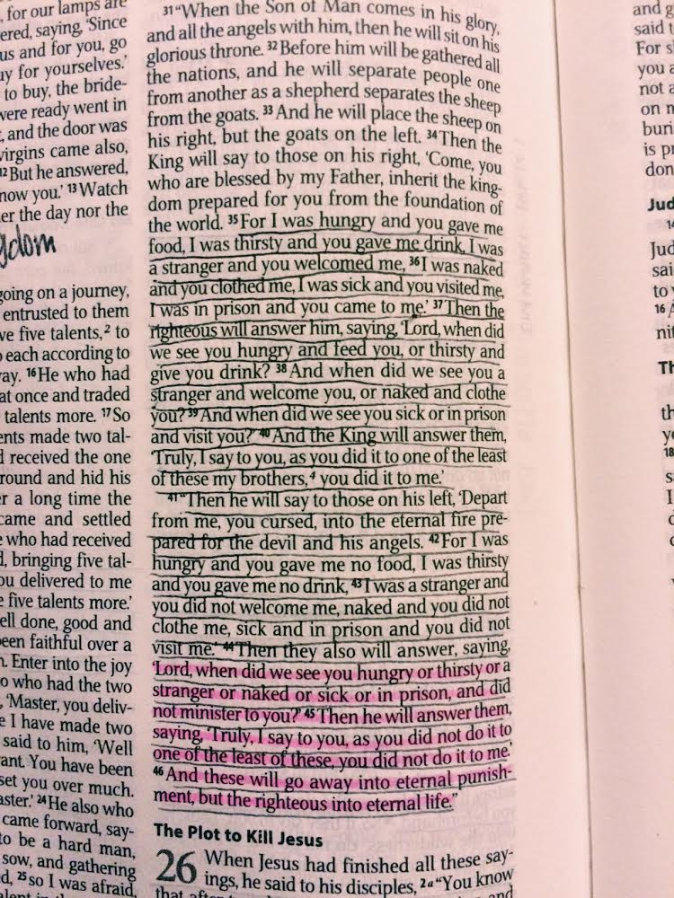 Underlined in my Bible, Matthew 25