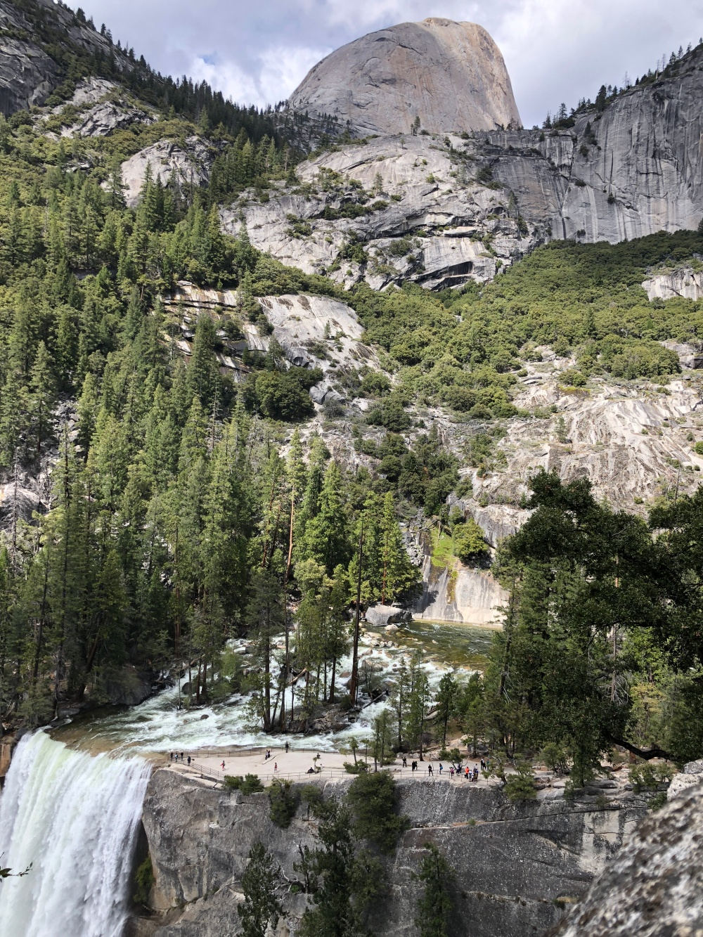 View of Vernal Falls and Half Dome from Nevada Falls