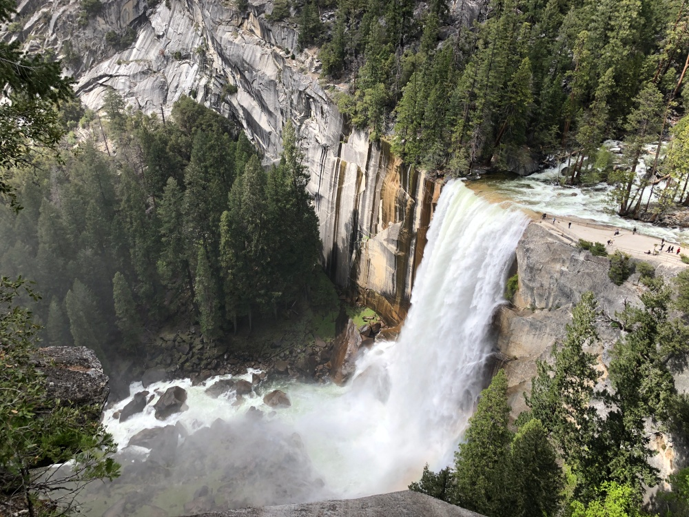 Looking down at Vernal Falls from Nevada Falls